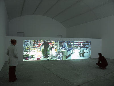 Aernout Mik, Pulverous, 2003, exhibition view at carlier | gebauer, Berlin, 2003